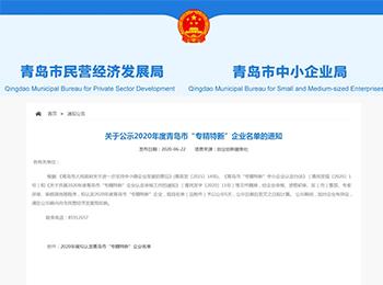 """喜报   菲优特检测荣获青岛市""""专精特新""""示范企业荣誉称号!"""